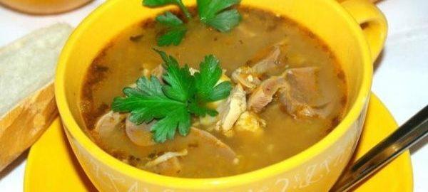Суп из желудочков курицы