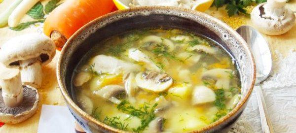 Суп с грибами и пшенкой