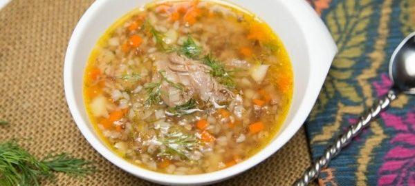Суп с гречкой и тушеной говядиной