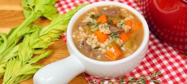 Суп с говядиной и перловокой