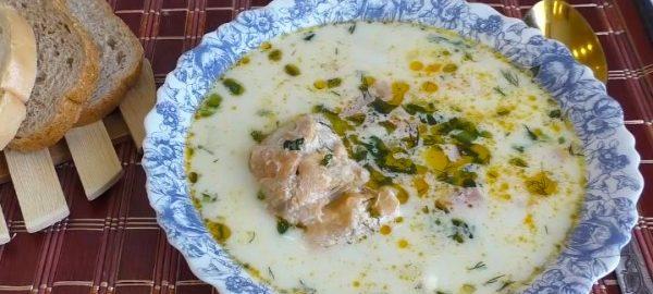 Сливочный суп с лососем из консервы