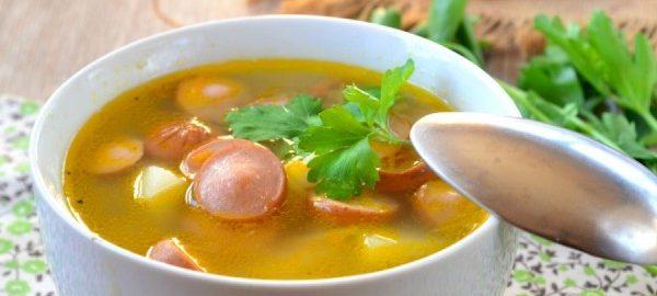 Суп яичный с картофелем и сосисками