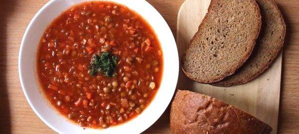 Чечевичный суп с томатным соком