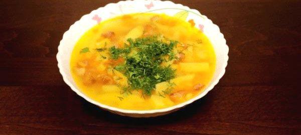 Гороховый суп с ребрышками и зеленью