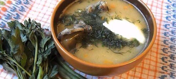 Украшенный зеленью ароматный гороховый суп из баранины готов к подаче