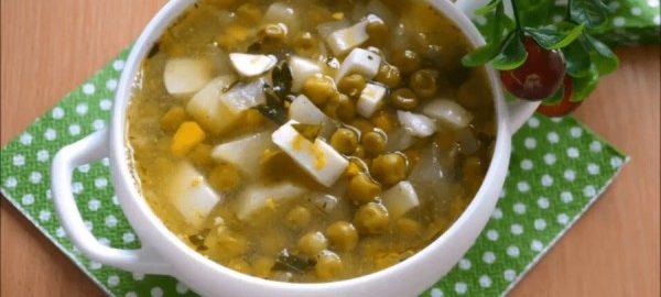 Суп с горошком и яйцами