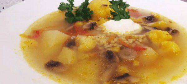 Рисовый суп с грибами