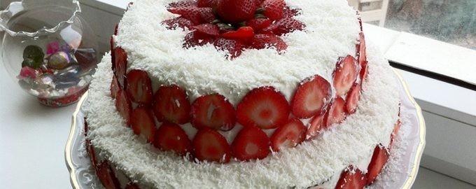 Клубничный десерт в 2 яруса