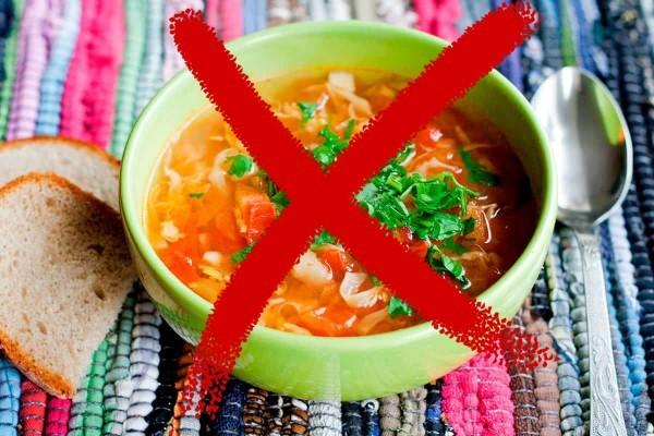 Перечеркнутая тарелка с супом