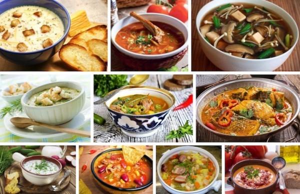 Несколько супов на картинке