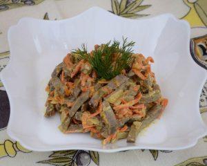 Салат со свиной печенью