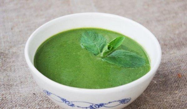 Мятный суп со шпинатом